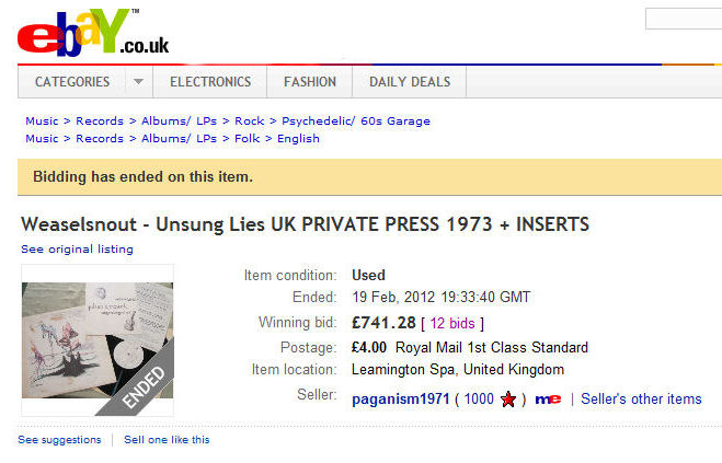 Unsung Lies on eBay 2012